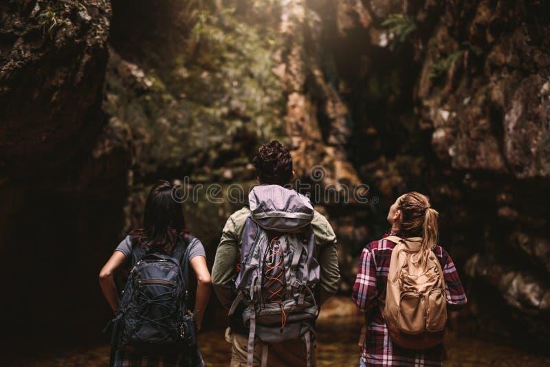 看山景的远足者朋友 图库摄影