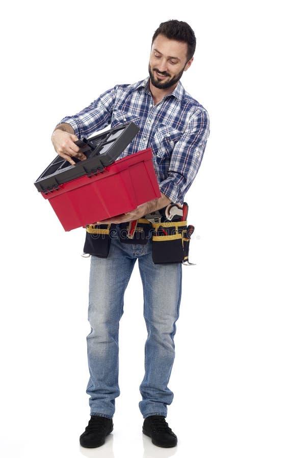看工具箱的杂物工 库存图片