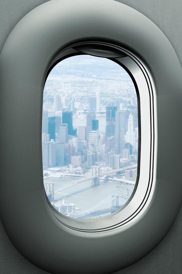 看布鲁克林大桥和曼哈顿,纽约的飞机窗口 库存例证