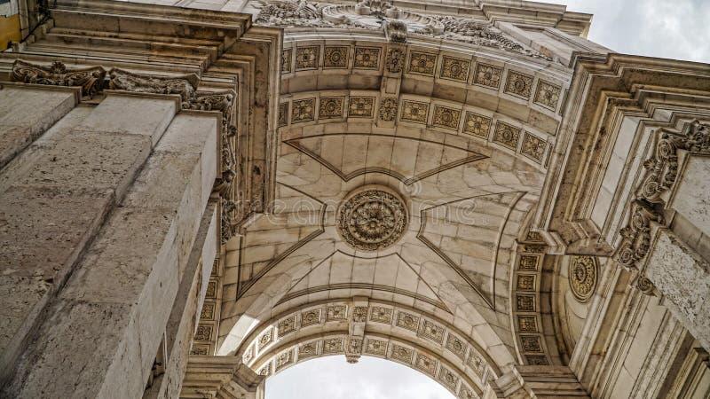 看弧奥古斯塔,凯旋门,里斯本,葡萄牙 里斯本是大陆欧洲` s最西部的首都和onl 库存照片