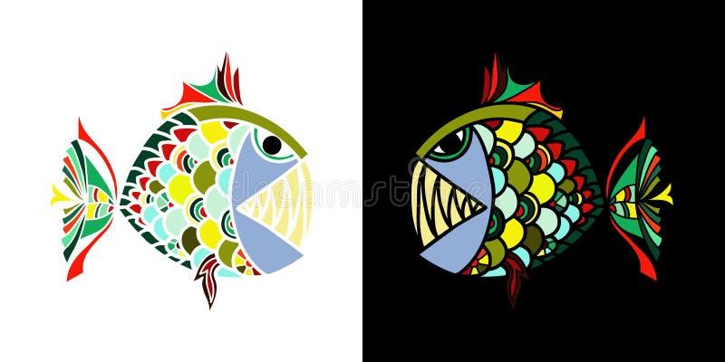 看彼此的两条恼怒的鱼在黑白色背景为T恤杉设计,碗筷、杯子和纺织品 库存照片