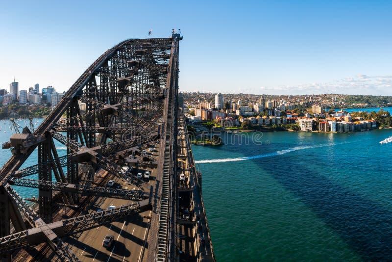 看往北部悉尼的悉尼港桥看法  库存照片