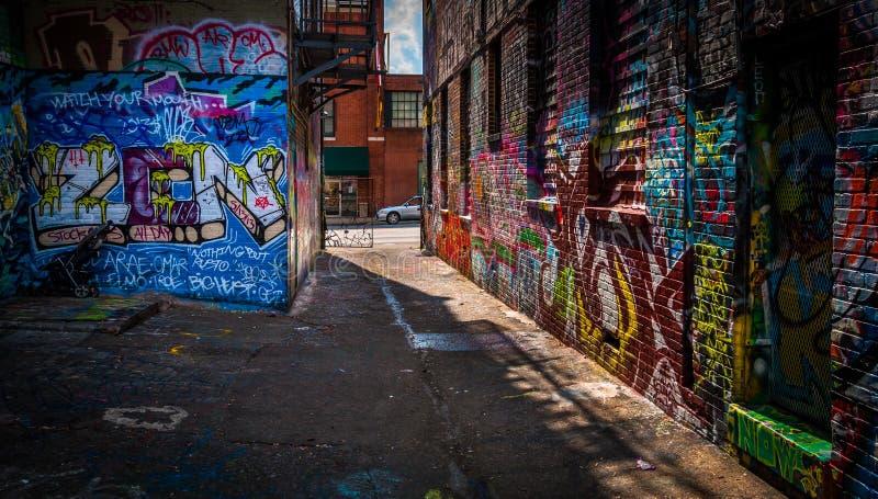 看往在街道画胡同的霍华德街,巴尔的摩, M 免版税库存照片