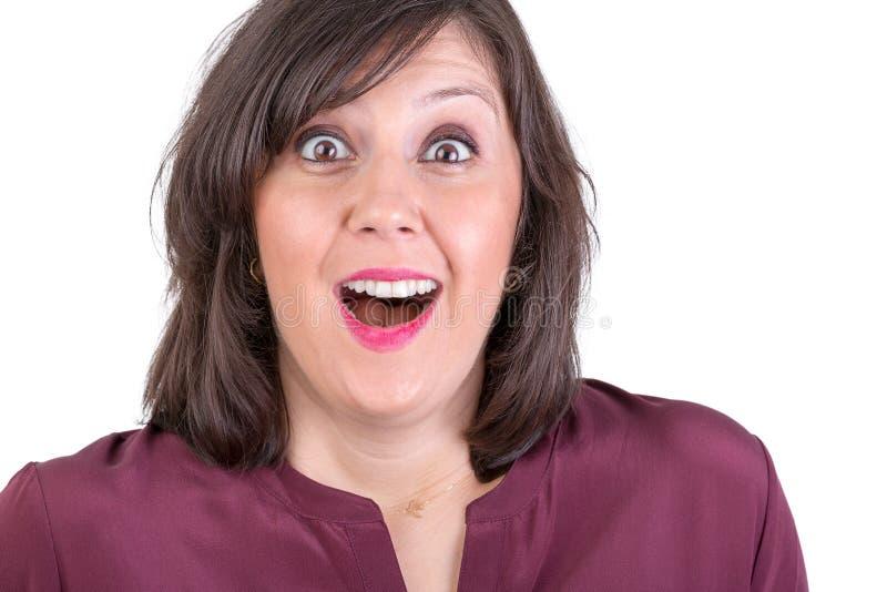看您的愉快地惊奇妇女 免版税库存图片
