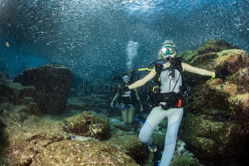 看您的美丽的女孩,当游泳在水面下时 免版税库存照片