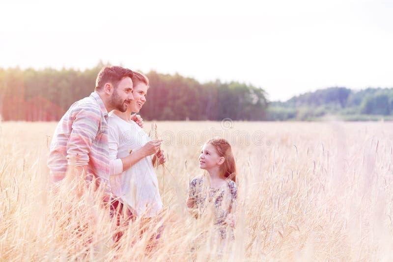 看慈爱的父母的女孩站立在麦子农场 图库摄影