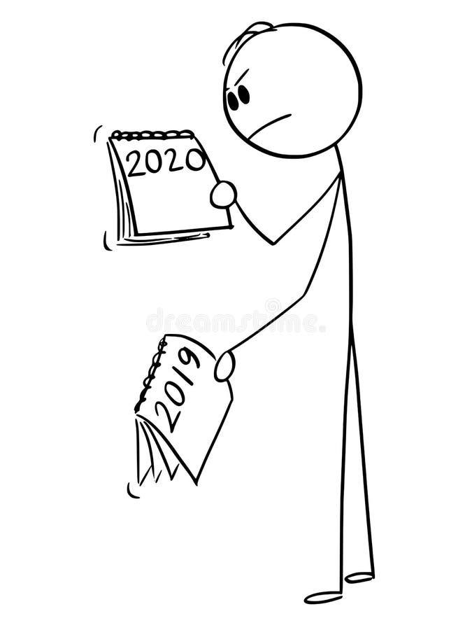 看日历的恼怒的人或商人传染媒介动画片年2019年怎么在2020年改变 皇族释放例证