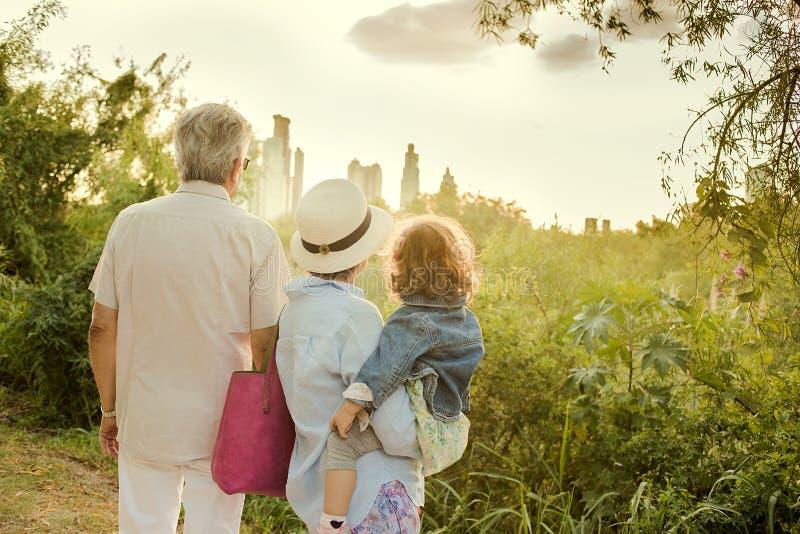 看日落的祖父母和孩子 免版税库存图片