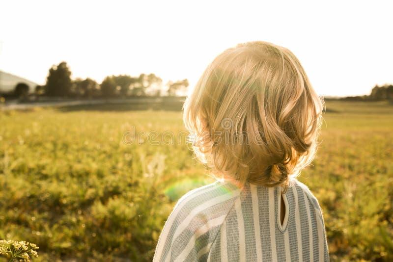 看日落的领域的女孩 免版税库存照片