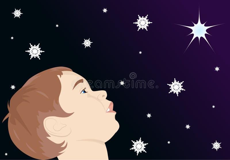 看星的孩子 向量例证