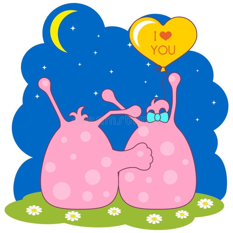 看月亮的逗人喜爱的桃红色妖怪夫妇  库存例证