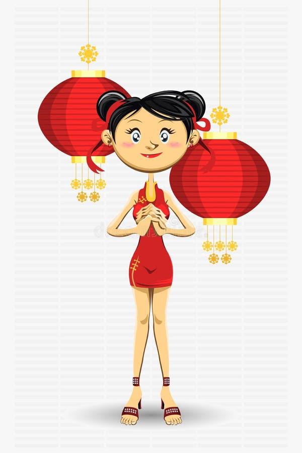 看板卡中国女孩招呼的新年度 皇族释放例证
