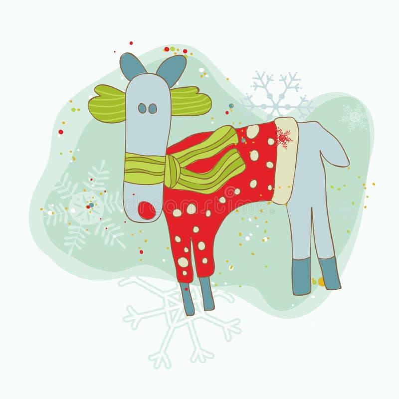 看板卡减速火箭圣诞节的驯鹿 向量例证