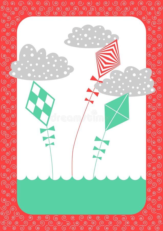 看板卡减速火箭邀请的风筝 向量例证