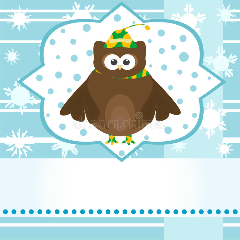 看板卡动画片逗人喜爱的问候猫头鹰&# 皇族释放例证