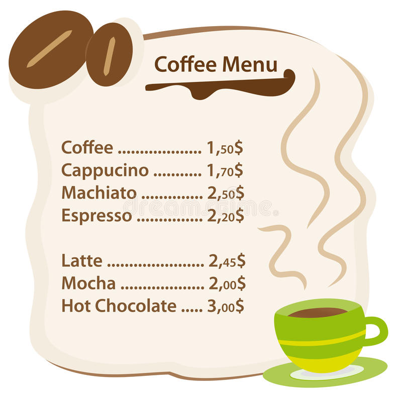 看板卡咖啡菜单 皇族释放例证