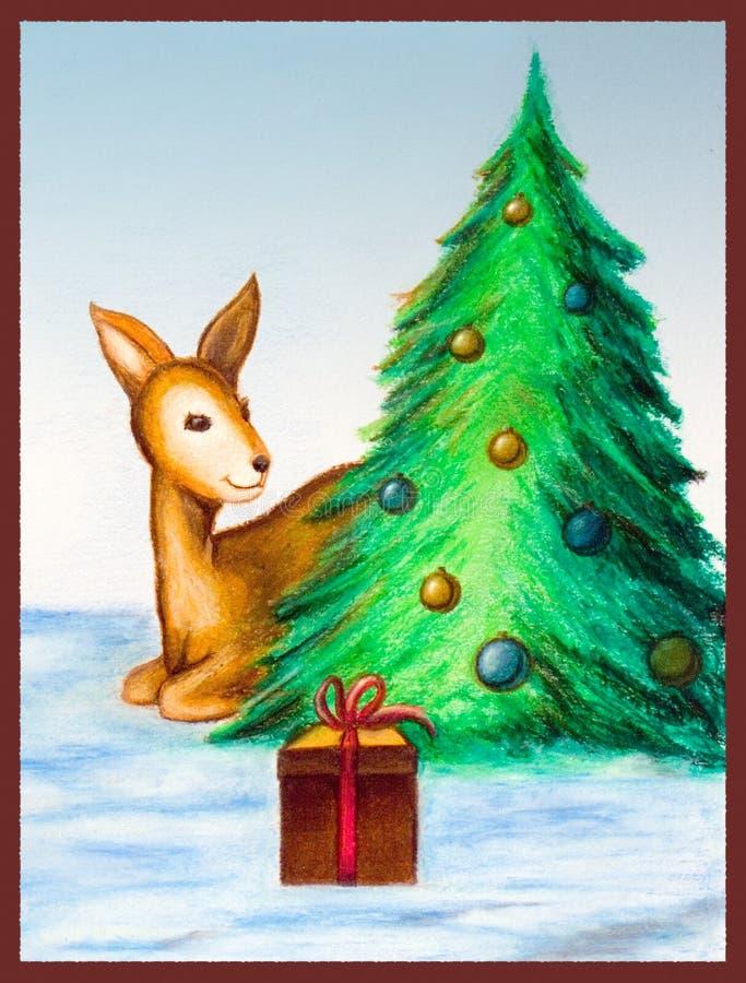 看板卡圣诞树 库存例证