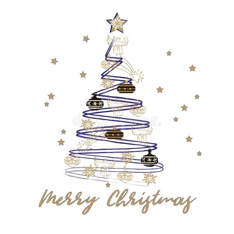 看板卡圣诞节招呼的愉快的快活的新&# 用在白色背景的金黄星装饰的风格化圣诞树 向量例证