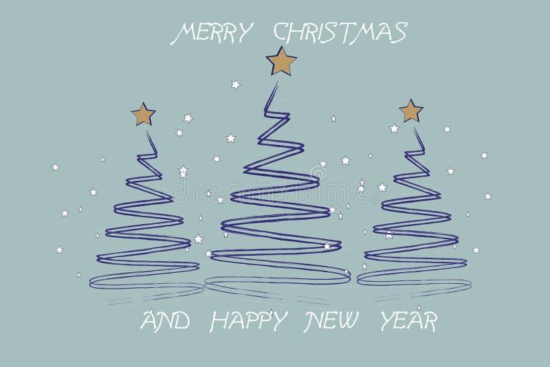 看板卡圣诞节招呼的愉快的快活的新&# 风格化Chri 向量例证