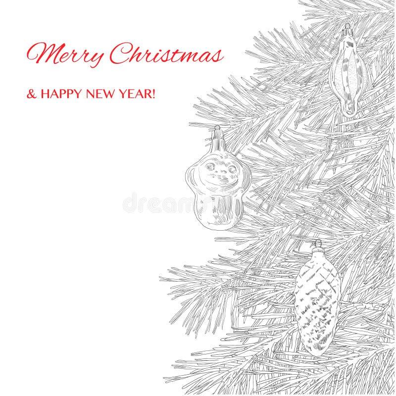 看板卡圣诞节招呼的新年度 圣诞节被画的现有量结构树 库存例证