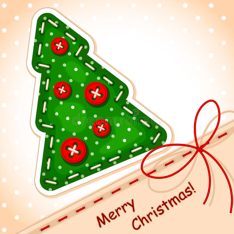 看板卡圣诞节缝合的结构树 向量例证