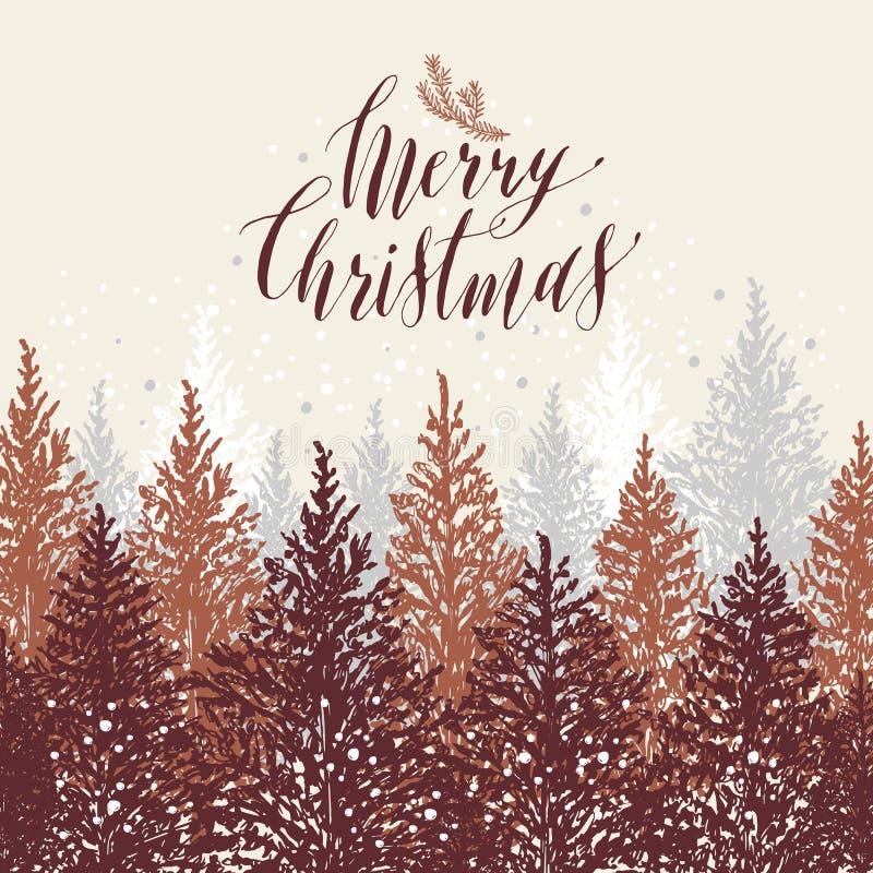 看板卡圣诞节被画的现有量 与雪的新年树 传染媒介设计例证 书法文本圣诞快乐 库存例证