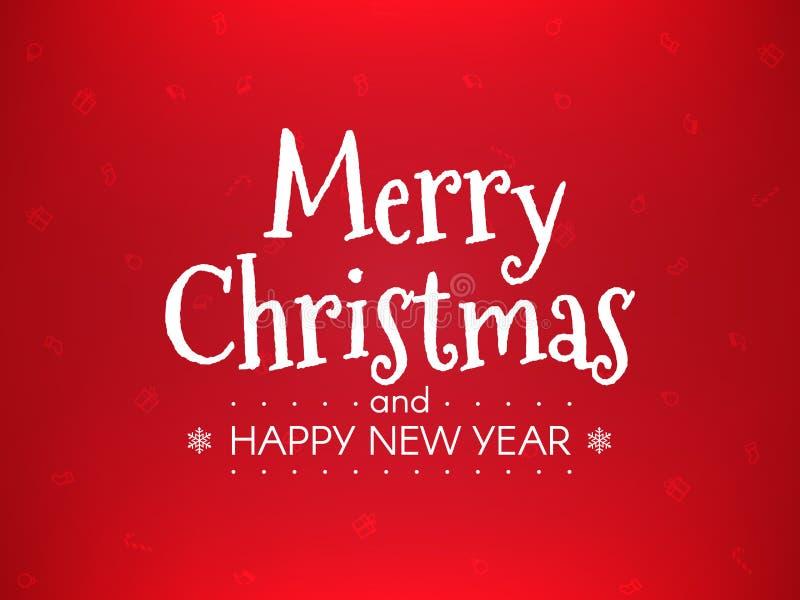 看板卡圣诞节问候 在红色背景的新年快乐概念 包裹与xmas元素的模板 快活的圣诞节 皇族释放例证