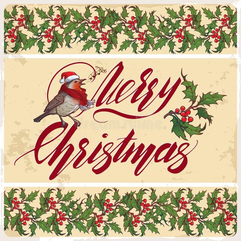 看板卡圣诞节问候 装饰霍莉分支边界手写的圣诞快乐标志和唱歌罗宾鸟 向量例证