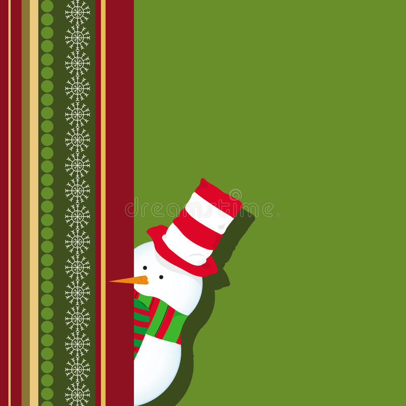 看板卡圣诞节隐藏的雪人 向量例证