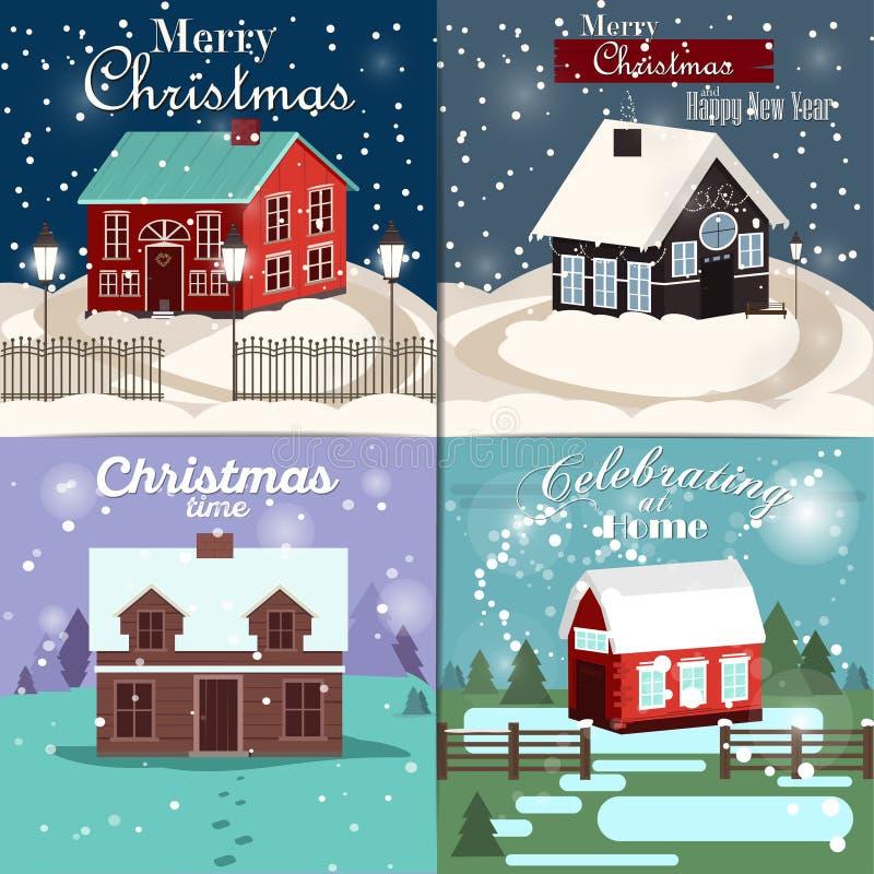 看板卡圣诞节集 冬天家、xmas树、雪地球和驯鹿元素 假日邀请或招呼c的理想 库存例证