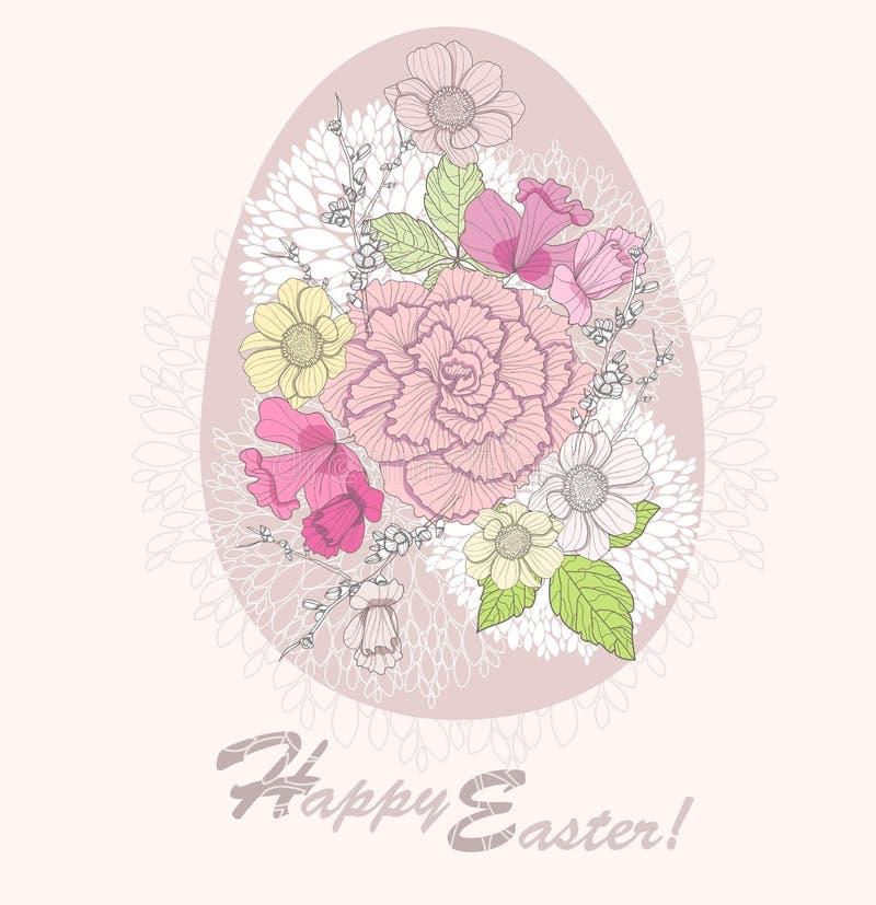 看板卡复活节彩蛋花卉模式 皇族释放例证