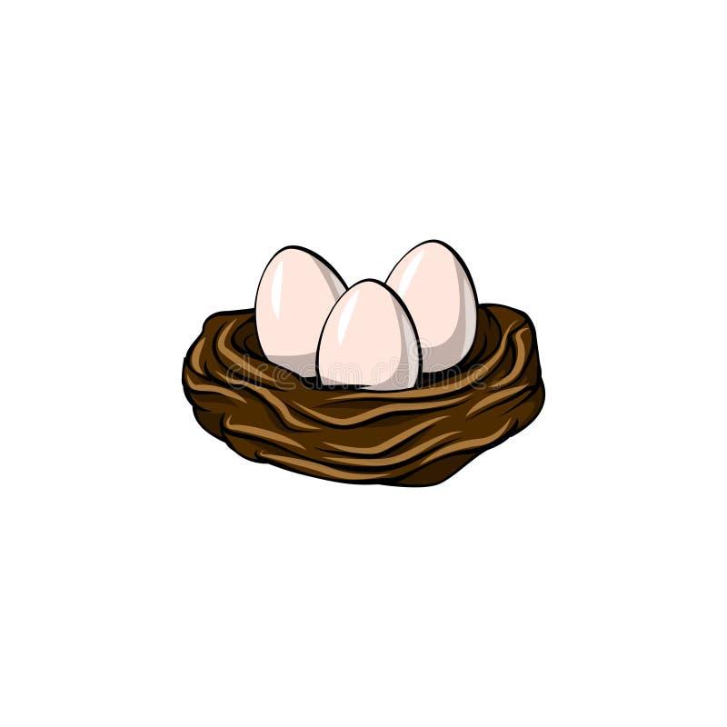 看板卡复活节 鸟巢三鸡蛋 色的设计复活节彩蛋要素eps8格式查出空白桃红色郁金香的向量 春天象 向量 皇族释放例证