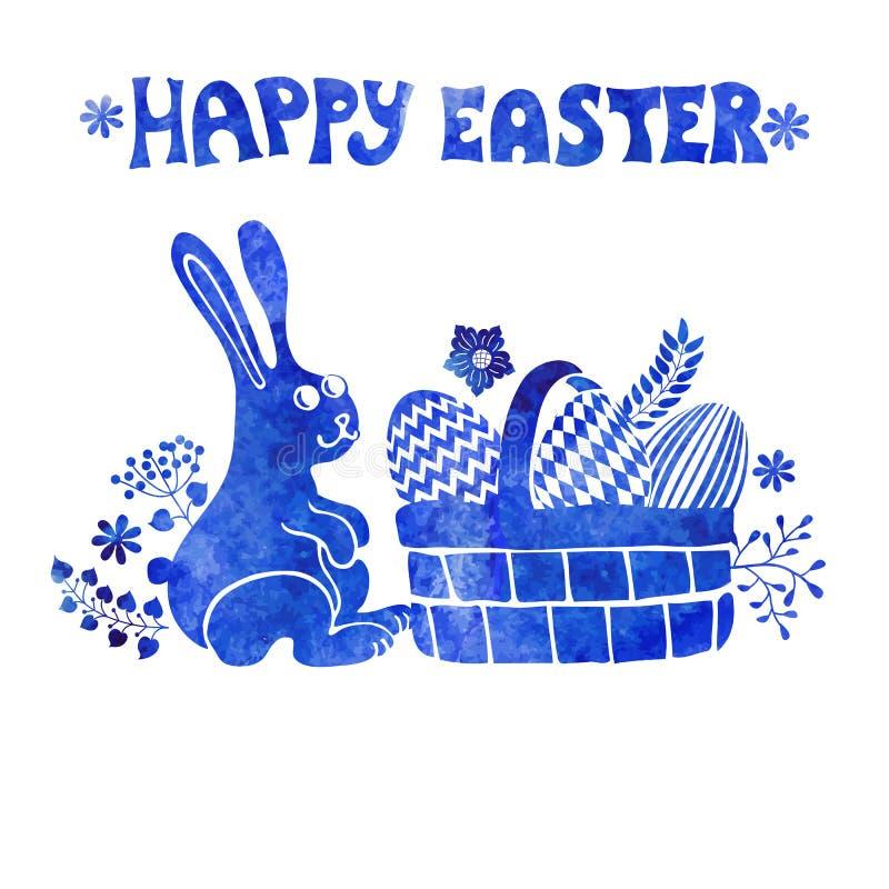 看板卡复活节 水彩盖印,兔子,在篮子的鸡蛋 库存例证