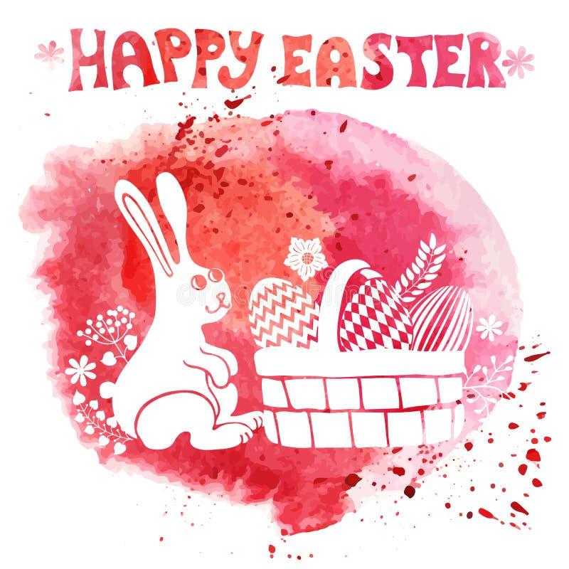 看板卡复活节 水彩盖印,兔子,在篮子的鸡蛋 向量例证
