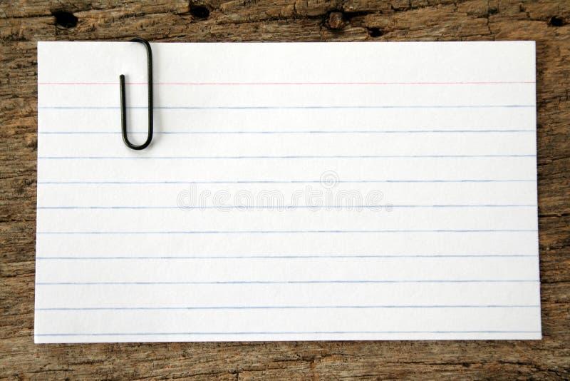 看板卡夹子索引纸张 免版税图库摄影