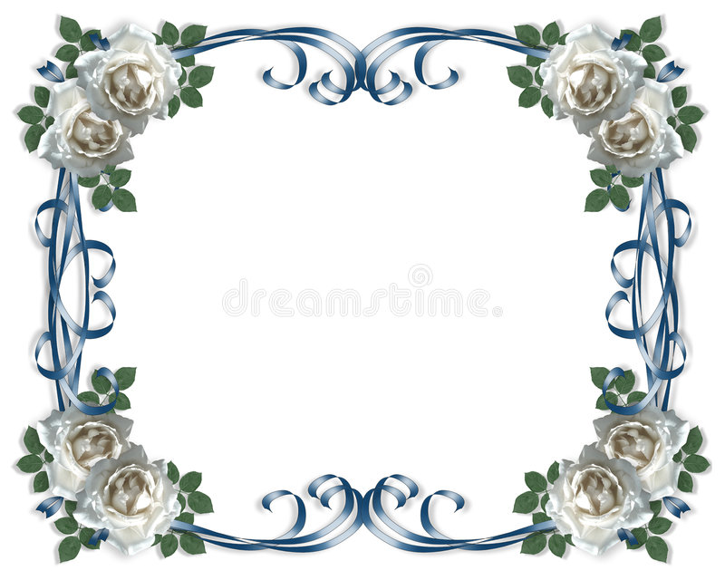 看板卡婚姻白色的邀请玫瑰 向量例证