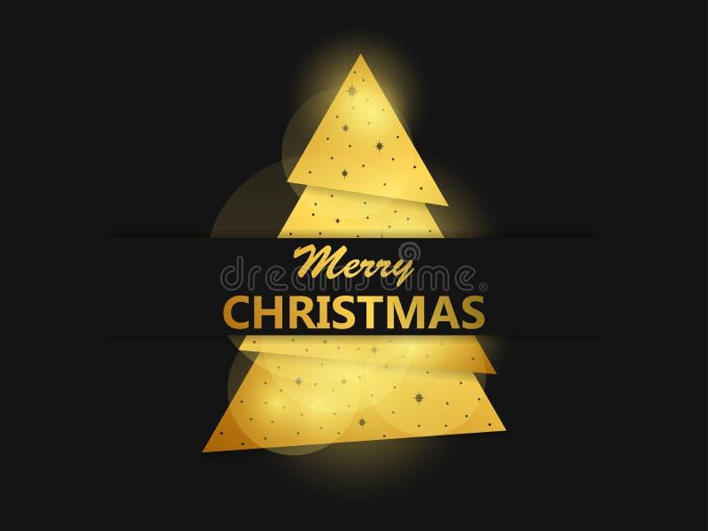 看板卡快活圣诞节的问候 与金黄梯度的圣诞树 贺卡设计模板 向量 皇族释放例证