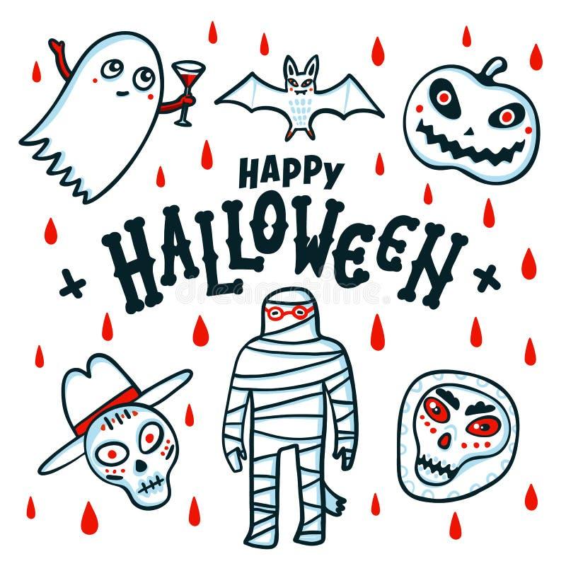 看板卡愉快的万圣节 动画片南瓜、妈咪、棒、鬼魂和头骨在白色背景与红色血液下落 向量 皇族释放例证