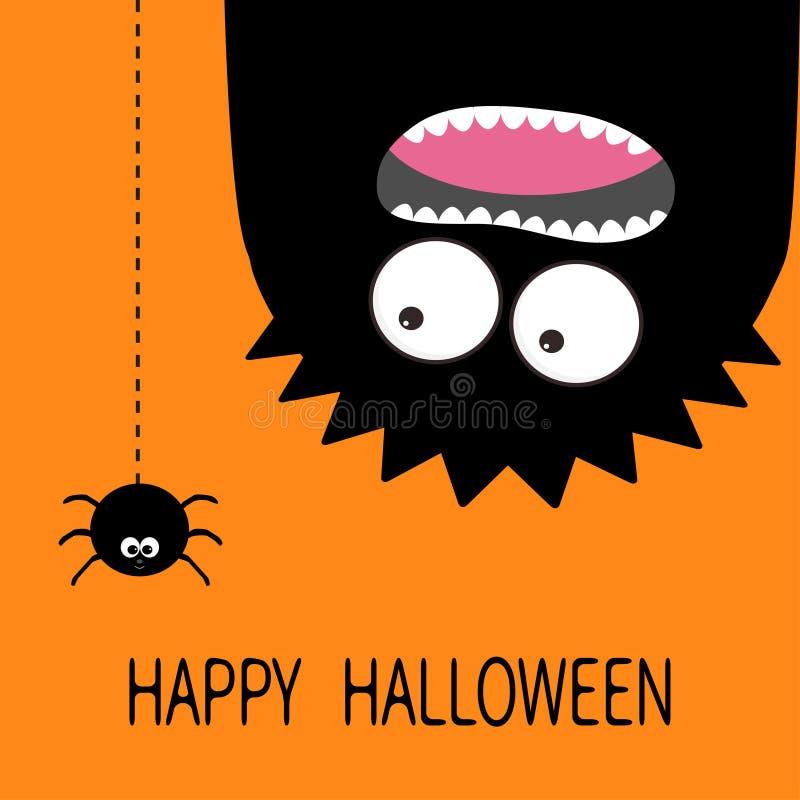 看板卡愉快的万圣节 妖怪顶头剪影 两只眼睛,牙,舌头 停止颠倒 黑蜘蛛破折号线 滑稽的逗人喜爱的加州 库存例证