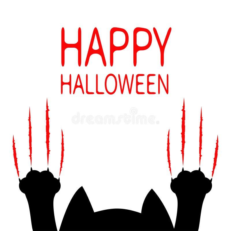 看板卡愉快的万圣节 黑色动画片猫 爪子打印头剪影 红色血淋淋的爪动物抓痕刮轨道 逗人喜爱的滑稽的轮藻属 向量例证