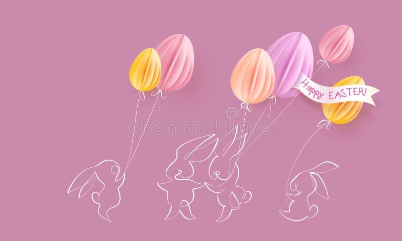 看板卡愉快的复活节 与气球的逗人喜爱的兔子 库存例证