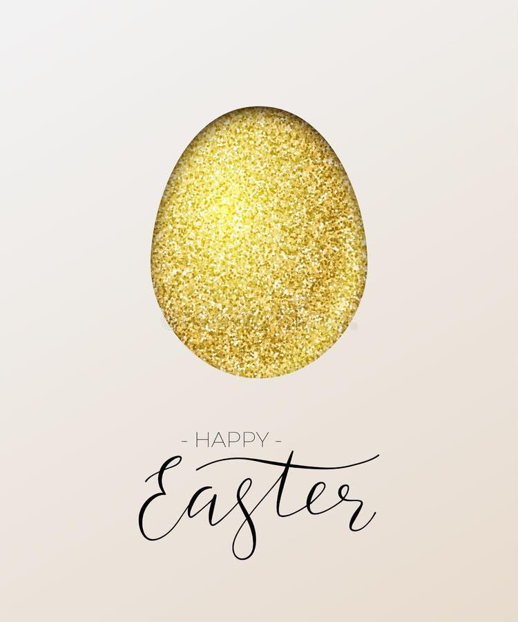看板卡愉快的复活节 导航金黄纸鸡蛋和愉快的复活节文本 皇族释放例证