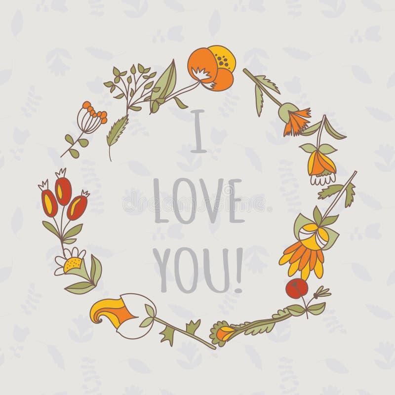 看板卡我爱你 与花的逗人喜爱的减速火箭的传染媒介卡片 与植物的葡萄酒花卉背景 向量例证