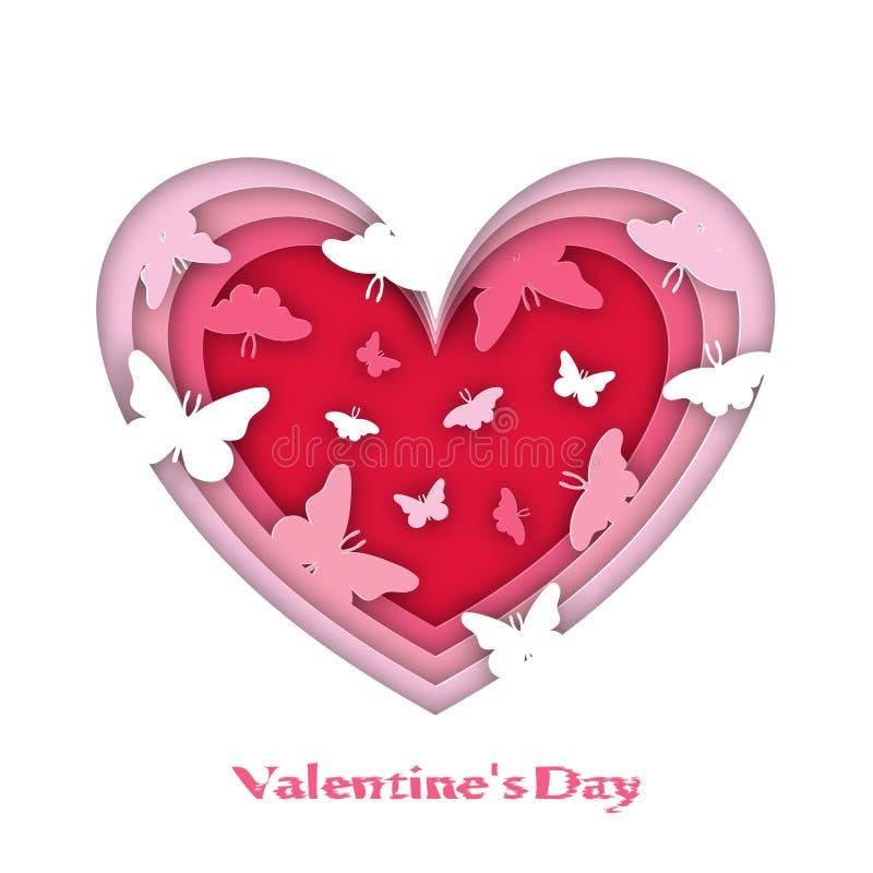 看板卡日问候s华伦泰 容量心脏,与蝴蝶, Origami,纸样式 皇族释放例证