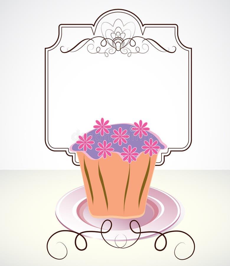 看板卡杯形蛋糕花 库存例证