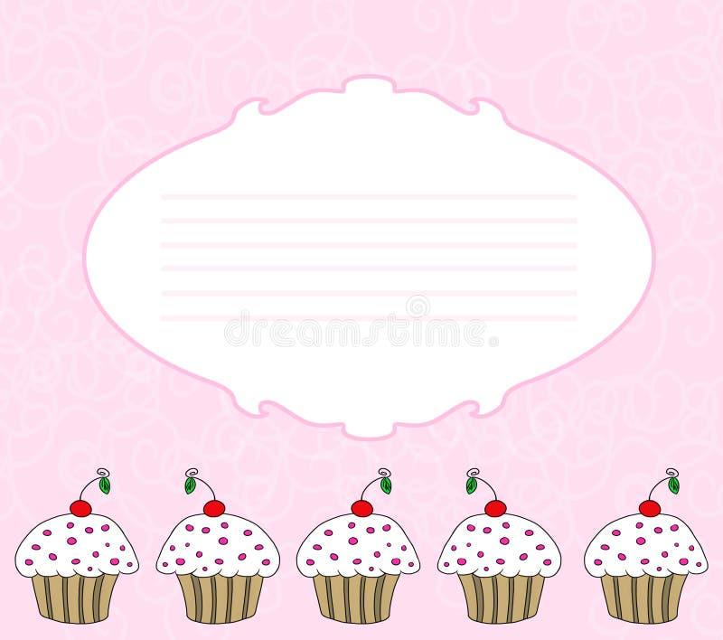 看板卡杯形蛋糕 向量例证