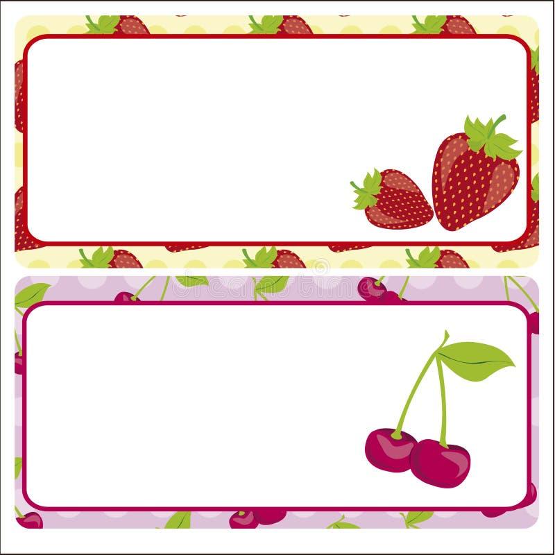 看板卡樱桃草莓 库存例证