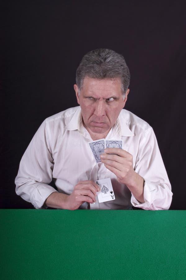 看板卡欺诈骗子欺诈的球员啤牌鲨鱼 免版税库存图片