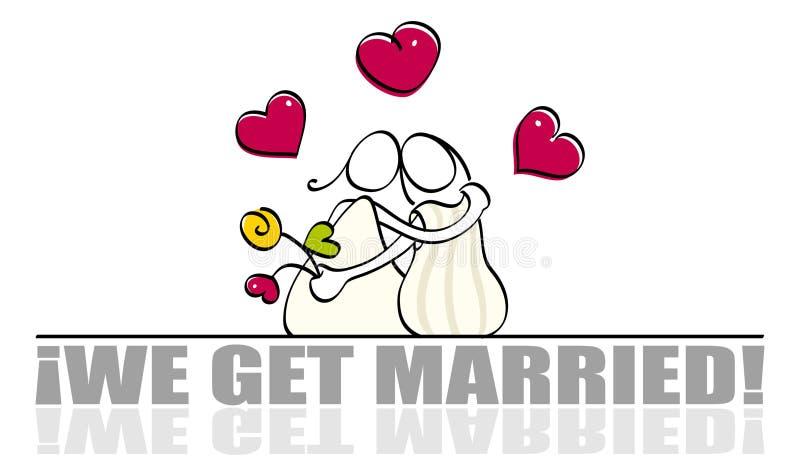 看板卡滑稽的女同性恋的婚礼 库存例证