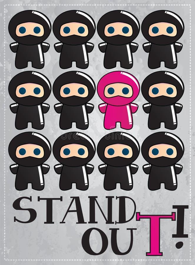 看板卡漫画人物逗人喜爱的ninja 向量例证